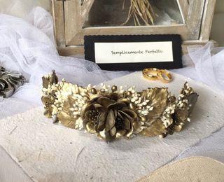 Tocado Novia Paniculata y dorado