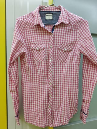 camisa a cuadros rosas y blancos manga larga