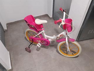 "Bicicleta niño niña ruedines 16"""