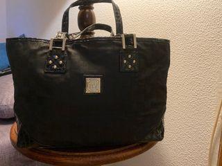 Shopping bag de piel y tela logo Roberto Verino