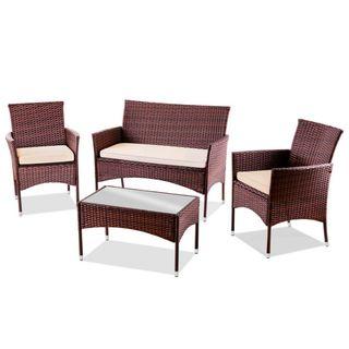 Mesa+Sofa+2 Sillones de ratan Marron jardin