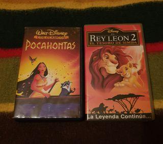antiguas películas vhs,pocahontas y el rey leon 2