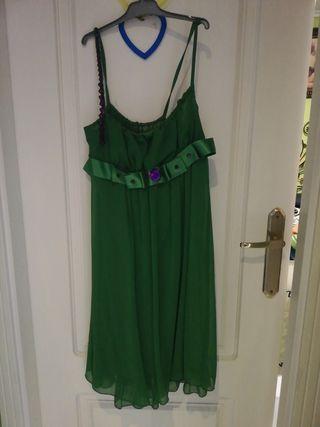 vestido verde de gasa y torera