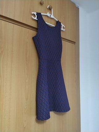vestido azul estampado Pull & Bear (XS)