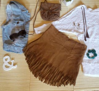 Minifalda flecos marron Pull & Bear