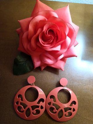 Conjunto de Flor y pendientes flamenca