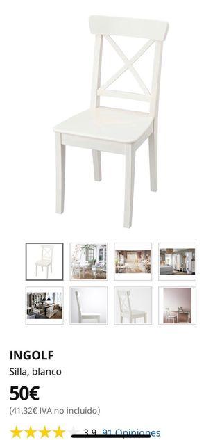 6 SILLAS INGOLF IKEA BLANCAS