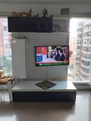 mueble television salon moderno blanco y negro