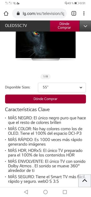 TV LG oled 55 c7v impecable