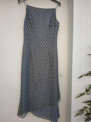 Vestido fiesta ceremonia largo gris