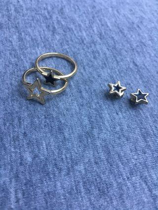 Conjunto anillos y pendientes Bimba Y Lola