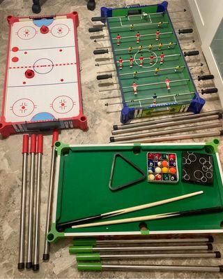 Billar, air hockey y futbolín