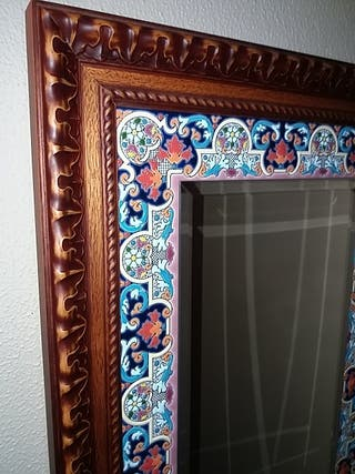 espejo esmaltes y azulejo pintado a mano Cearco