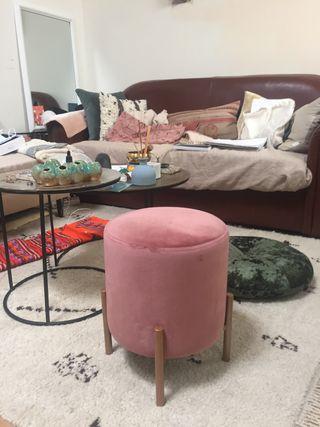 Taburete banqueta terciopelo rosa nueva
