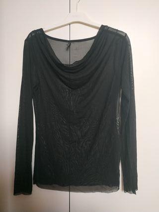 Camiseta manga larga transparente mujer