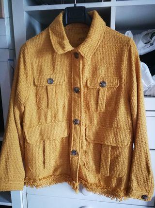 chaqueta mujer color amarillo - mostaza