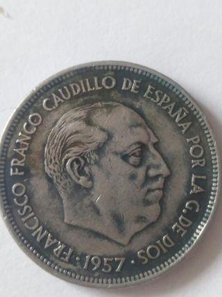 Moneda 25 PTAS del 1957 estrella 75