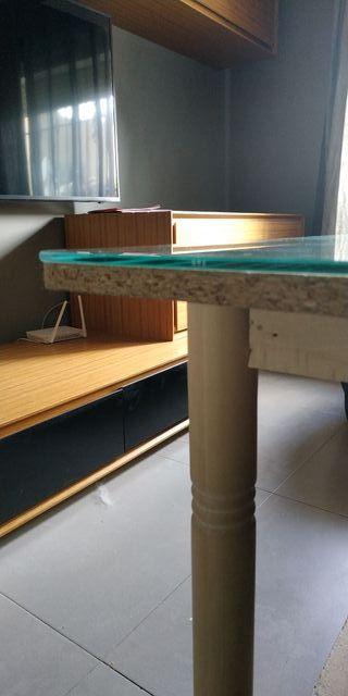 mesa camilla rectangular con cristal