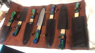Set 7 cuchillos de cocina . Damasco . Cheff