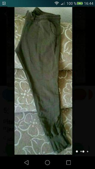 Pantalon talla L chándal verde mujer