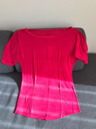Camiseta larga rosa mujer