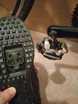 pedales automáticos shimano mtb y calzado talla 40