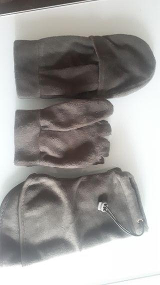 Conjunto braga y guantes-manoplas caza
