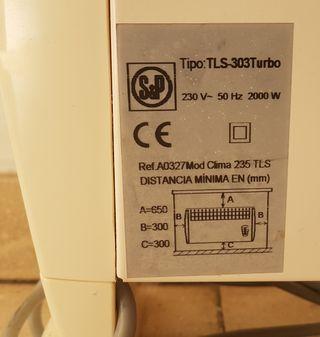 calefactor turbo marca SYP