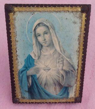 Cuadro de Madera de la Virgen María Mediados S. XX