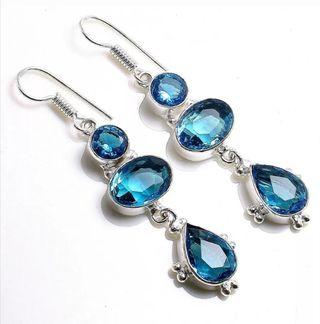 NUEVO Topacio Azul y Plata 925, pendientes, joyas