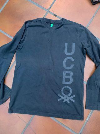Camiseta gris oscuro de benetton talla 10-11 XL