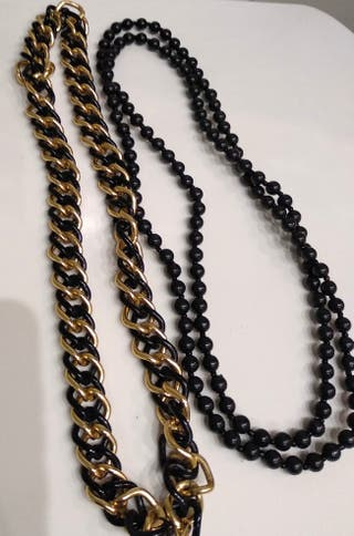 Conjunto de collares negro y dorado