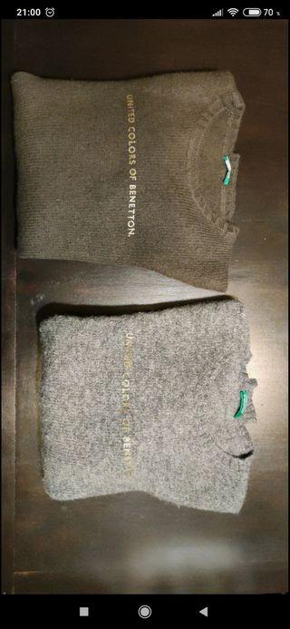 Jerseys de Benetton gris/marrón. Talla M.