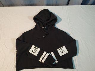 Sudadera de algodón negra con capucha mujer