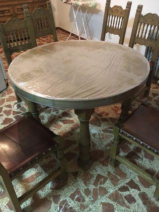 Mesa madera y 6 sillas