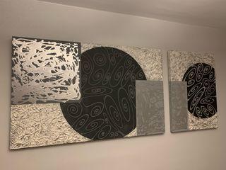 Cuadro negro/blanco/plata