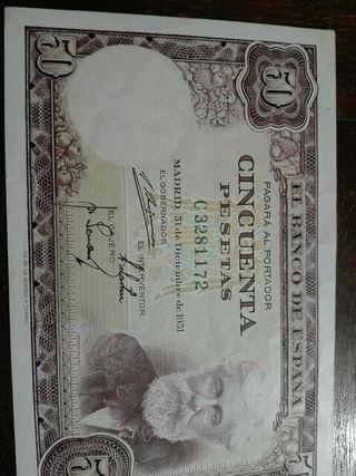 Billete de 50 pesetas Santiago Rusiñol