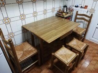 Mesa cocina, 2 banquetas y 2 sillas