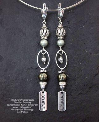 Largos pendientes de plata de Ley ,estilo Vintage