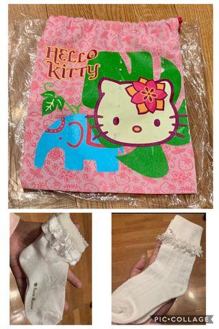 Lote Calcetines niña 25-28 + bolsa hello kitty