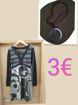 GANGA Disfraz HIPPIE + Collar REGALO talla M