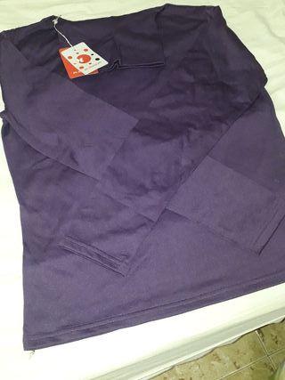 camiseta tipo bobo licra cuello alto manga larga