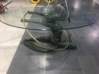 Mesa Cristal con estatua