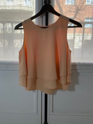 Camisa de tirantes con volante Zara Talla S