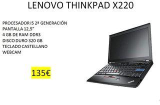 PORT. LENOVO X220 i5 12PULGADAS 4GB RAM, 320G