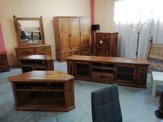 muebles pino macizo, armario 3 puertas, comoda 5 c