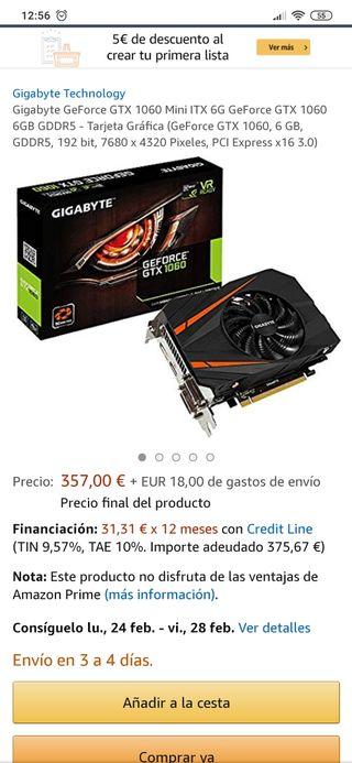 Gigabyte GeForce GTX 1060 Mini ITX 6G GeForce GTX