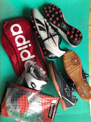 Pack zapatillas espinilleras fútbol