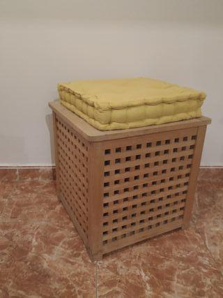 Cubo de almacenaje con cojín (asiento)