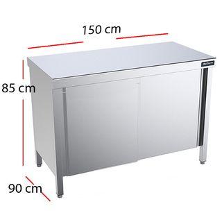 Mesa de acero Inoxidable con Puertas -Largo 150 cm